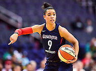 Washington, DC - June 15, 2018: Washington Mystics guard Natasha Cloud (9) directs the offense during game between the Washington Mystics and New York Liberty at the Capital One Arena in Washington, DC. (Photo by Phil Peters/Media Images International)