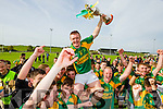 Sean Maunsell  Kilmoyley captain lifts the Neilus Flynn cup after defeating Saint Brendan's in the County Senior Hurling Final at Abbeydorney on Sunday.