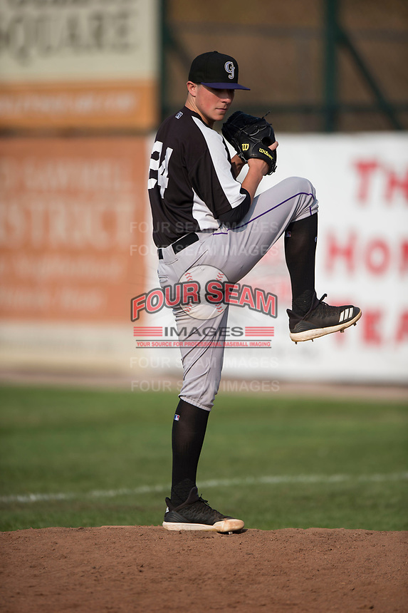 Grand Junction Rockies starting pitcher Ryan Rolison (24) warms up before a Pioneer League game against the Missoula Osprey at Ogren Park Allegiance Field on August 21, 2018 in Missoula, Montana. The Missoula Osprey defeated the Grand Junction Rockies by a score of 2-1. (Zachary Lucy/Four Seam Images)