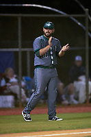 Saint Leo Lions coach Dillon Vitale (11) during a game against the Northwestern Wildcats on March 4, 2016 at North Charlotte Regional Park in Port Charlotte, Florida.  Saint Leo defeated Northwestern 5-3.  (Mike Janes/Four Seam Images)