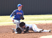 RICK PECK/SPECIAL TO MCDONALD COUNTY PRESS<br /> McDonald County Josh Parsons is tagged out while attempting to steal second base in the Mustangs 3-2 win in a scrimmage held Monday at MCHS.