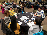 Attendees discuss topics of diversity at the annual Diversity Forum, Tuesday, April 30, 2019 in the Lincoln Park Student Center. (DePaul University/Jeff Carrion)