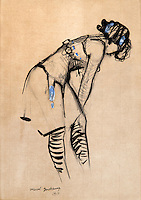 BNPS.co.uk (01202 558833)<br /> Pic: SalonDuDessin/BNPS<br /> <br /> Marcel Duchamp 'Jeune femme au corset'.<br /> <br /> A exhibition reveals the brilliant technique behind some of the worlds greatest artists - as their stunning drawings come up for auction.<br /> <br /> Preparatory sketches are for most people nowadays the only way to ever own an original work by a famous artist and more than 1,000 drawings from some of the world's most famous have emerged on the market.<br /> <br /> The remarkable collection, which features drawings and preparatory sketches by Henri Matisse, Pablo Picasso, Edgar Degas and Salvador Dali, will be showcased at the six-day Salon Du Dessin exhibition in Paris in March.<br /> <br /> Notable works are tipped to sell for hundreds of thousands of euros and the overall value of the collection is estimated at 25-30 million euros.<br /> <br /> Drawings have become increasingly collectible in the past 10 years as they are seen as a more affordable way of getting hold of works from the art greats.<br /> <br /> Included in the sale are Matisse's 1944 drawing of 'apples' with pen and ink on paper, Degas' 'dancer' with charcoal on paper, Picasso's 'women with flowers' with pen and red pencil on paper and Dali's 'Madonna with Christ' using watercolour, ink and a ball-point pen.<br /> <br /> Degas' sketch of a dancer bares a striking resemblance to his famous sculpture of The Little Fourteen-Year-Old Dancer in 1881.