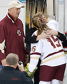Mathew Field, Sheila Field, Emily Field (BC - 15) -  The Boston College Eagles defeated the visiting Boston University Terriers 5-0 on BC's senior night on Thursday, February 19, 2015, at Kelley Rink in Conte Forum in Chestnut Hill, Massachusetts.