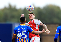 Ashley Eastham of Fleetwood Town wins the had challenge during the Sky Bet League 1 match between Shrewsbury Town and Fleetwood Town at Greenhous Meadow, Shrewsbury, England on 21 October 2017. Photo by Leila Coker / PRiME Media Images.