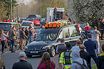 The funeral cortege of the late Prodigy singer Keith Flint makes its way through the packed streets of Bocking,  Braintree, Essex today on route to  St Marys Church .