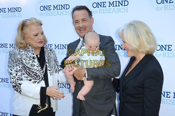 Gena Rowlands, Tom Hanks, Glenn Close.Circle Of Hope Dinner And Entertainment Gala held at Beverly Hills Hotel, Beverly Hills, California, USA..September 19th, 2012.half length black white blazer paisley kid child baby funny print pearl necklace grey gray suit profile.CAP/ADM/TW.©Tonya Wise/AdMedia/Capital Pictures.