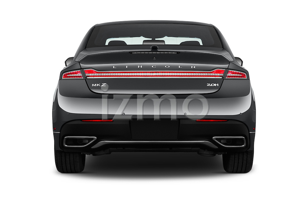 Straight rear view of 2018 Lincoln MKZ Hybrid-Select 4 Door Sedan Rear View  stock images