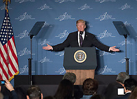 United States President Donald J. Trump makes remarks at the Latino Coalition Legislative Summit at the JW Marriott Hotel in Washington, DC on Wednesday, March 7, 2018.<br /> <br /> CAP/MPI/CNP/RS<br /> &copy;RS/CNP/MPI/Capital Pictures