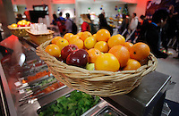 NWA Media/DAVID GOTTSCHALK - 12/19/14 - Fresh fruit and vegetables are available from  the Garden Bar daily at the cafeteria at Rogers High School Friday December 19, 2014.