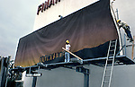 Ed Ruscha painting Back of Hollywood installation in 1977 for Eyes and Ears project in Los Angeles