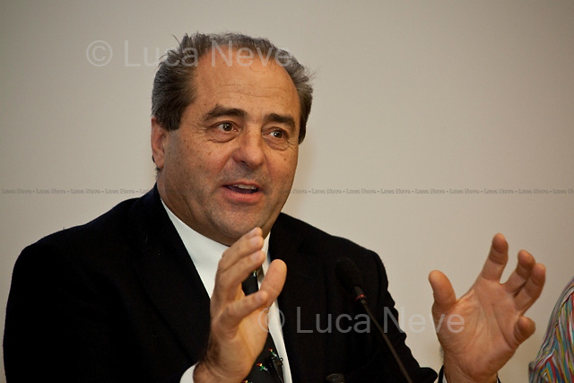 Antonio Di Pietro, Italian politician - 2011 <br /> <br /> London, 11/12/2011. Antonio Di Pietro, leader of the Italian political Party IDV (Italia Dei Valori) and former Mani Pulite judge, and the European MP Niccoló Rinaldi meet the Italians of London at the UCL (University College London) to talk about the Italian people that have decided to leave the Peninsula to build their future elsewhere, in locations where they perceive to exist more chances and opportunities.