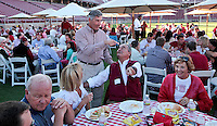 Stanford University athletics director Bob Bowlsby, talks with fans during the Stanford Football Kick Off Dinner at Stanford Stadium on Thursday, August 25, 2011. ( © Norbert von der Groeben )