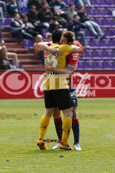 Osasuna´s goalkeeper Andres Fernandez celebrates a goal with his colleague during match of La Liga 2012/13. 31/03/2013. Victor Blanco/Alterphotos /NortePhoto