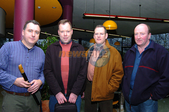 Harry Long, Gerard Dogget, David Nevin and John Shankey of Traditional group Coscan who played at the concert in aid of the Tsunami appeal in the Bru na Boinne centre..Photo: Colin Bell / Newsfile.Photo: Colin Bell / Newsfile