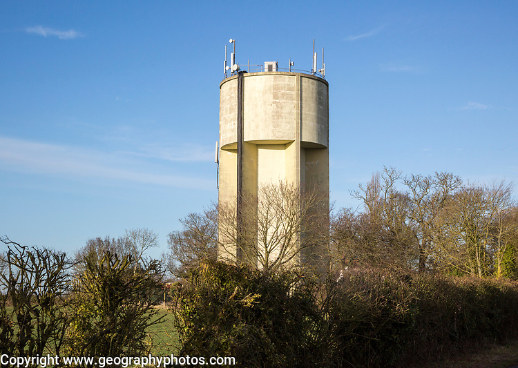 Concrete circular 1950s water tower Pettistree, Suffolk, England, UK built 1953