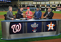 HOUSTON - OCTOBER 29: Kevin Burkhardt, Alex Rodriguez, Nationals shortstop Trea Turner, David Ortiz, and Frank Thomas at World Series Game 6: Washington Nationals at Houston Astros on Fox Sports at Minute Maid Park on October 29, 2019 in Houston, Texas. (Photo by Frank Micelotta/Fox Sports/PictureGroup)