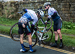 Crash involving Isaac Mundy (GBR) and George Wood (GBR) Swiftcarbon Pro Cycling during Stage 3 of the 2019 Tour de Yorkshire, running 132km from Brindlington to Scarborough, Yorkshire, England. 4th May 2019.<br /> Picture: ASO/SWPix/Alex Broadway | Cyclefile<br /> <br /> All photos usage must carry mandatory copyright credit (© Cyclefile | ASO/SWPix/Alex Broadway)
