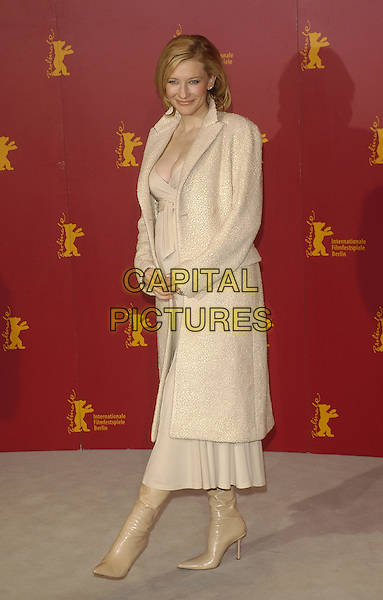 CATE BLANCHETT.Berlin Film Festival, Germany .07 February 2004.full length, full-length, long cream coat, dress, pregnant, knee high boots.www.capitalpictures.com.sales@capitalpictures.com.©Capital Pictures