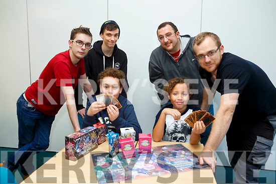 Tralee MAGS society and TCG Kerry held Kerry's 1st yugioh regionals competition at IT Tralee north campus on Saturday. Pictured l-r Leon Adire Enfieldand Dylon Stack  Shane Morley,  Tralee MAGS society, Kieran Healy, Peter Enfield, John Collins, TCG Kerry