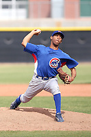 Frank Batista of the Chicago Cubs plays in a minor league spring training game against the Los Angeles Angels at the Angels complex on April 2, 2011  in Tempe, Arizona. .Photo by:  Bill Mitchell/Four Seam Images.