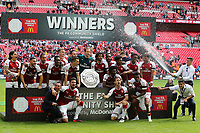 Arsenal win the Community Shield and Alexis Sanchez joins in the celebrations as Gabriel sprays the champagne during Arsenal vs Chelsea, FA Community Shield Football at Wembley Stadium on 6th August 2017