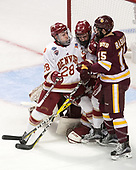 Adam Plant (DU - 28), Will Butcher (DU - 4), Willie Raskob (UMD - 15) - The University of Denver Pioneers defeated the University of Minnesota Duluth Bulldogs 3-2 to win the national championship on Saturday, April 8, 2017, at the United Center in Chicago, Illinois.