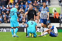 Injury concern for Neal Maupay of Brighton and Hove Albion rignt and Jan Vertonghen of Tottenham Hotspur during Brighton & Hove Albion vs Tottenham Hotspur, Premier League Football at the American Express Community Stadium on 5th October 2019
