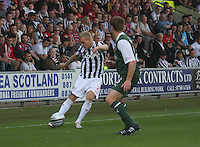 Gary Teale crosses in the St Mirren v Hibernian Clydesdale Bank Scottish Premier League match played at St Mirren Park, Paisley on 18.8.12.