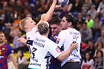 VELUX EHF 2019/20 EHF Men's Champions League Group Phase - Round 8.<br /> FC Barcelona vs Aalborg Handbold: 44-35.<br /> Magnus Jensen, Janus Smarason Ludovic Fabregas & Mishels Liaba.