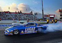 Feb 7, 2014; Pomona, CA, USA; NHRA pro stock driver Larry Morgan during qualifying for the Winternationals at Auto Club Raceway at Pomona. Mandatory Credit: Mark J. Rebilas-