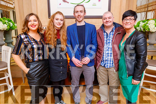 The staff of the Rose Hotel enjoying their party in the Ballygarry House Hotel on Sunday.<br /> L to r: Aisling Foley, Megan Walsh, Nathan Roche, Mark Feehan and Maeve Collins.