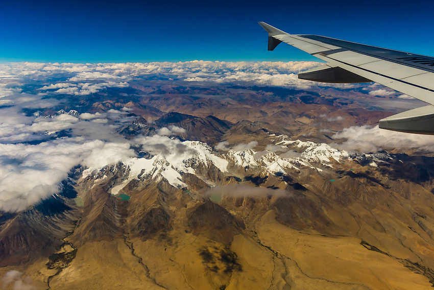 Aerial view of the Tibetan Plateau flying from Kathmandu, Nepal to Lhasa, Tibet (China).