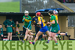Kerry's Patrice Diggin gets away from clare and passes to Laura Collins at the Littlewoods Ireland Camogie League Division 3 Kerry v Clare at Abbeydorney GAA club on Sunday