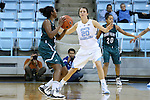 09 November 2015: North Carolina's Anne Corrigan (center) guards Mount Olive's Daria Simmons (left). The University of North Carolina Tar Heels hosted the University of Mount Olive Trojans at Carmichael Arena in Chapel Hill, North Carolina in a 2015-16 NCAA Women's Basketball exhibition game. UNC won the game 99-45.