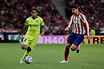 Atletico de Madrid's Alvaro Morata and Getafe CF's Damian Suarez during La Liga match between Atletico de Madrid and Getafe CF at Wanda Metropolitano Stadium in Madrid, Spain. August 18, 2019. (ALTERPHOTOS/A. Perez Meca)
