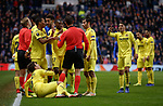 29.11.18 Rangers v Villarreal: Confusion as Villarreal players surround the ref and shout for Daniel Candeias to be sent off as the ref had not realised he has booked him already