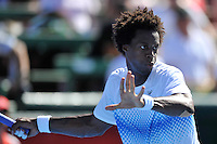 MELBOURNE, 15 JANUARY - Gael Monfils (FRA) prepares to hit a forehand in the final of the 2011 AAMI Classic against Lleyton Hewitt (AUS) at Kooyong Tennis Club in Melbourne, Australia. (Photo Sydney Low / syd-low.com)
