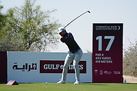 Connor Syme (SCO) on the 17th during Round 1 of the Commercial Bank Qatar Masters 2020 at the Education City Golf Club, Doha, Qatar . 05/03/2020<br /> Picture: Golffile | Thos Caffrey<br /> <br /> <br /> All photo usage must carry mandatory copyright credit (© Golffile | Thos Caffrey)