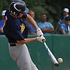 Travis Honeyman #1 of Massapequa comes off the bench and delivers a two-run double in the top of the fourth inning of the Nassau County varsity baseball Class AA final against Oceanside at SUNY Old Westbury on Saturday, May 26, 2018. Massapequa won 6-5 to take Game 1 of the best-of-three series.