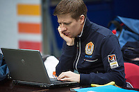 29-01-2014,Czech Republic, Ostrava,  Cez Arena, Davis-cup Czech Republic vs Netherlands, practice, Team Manager Marc Wolfertz(NED)<br /> Photo: Henk Koster