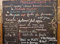 Europe/France/Provence-Alpes-Côte d'Azur/06/Alpes-Maritimes/Nice: Ancien menu d'Hélène Barale - restaurant: Chez Barale, temple de la cuisine niçoise