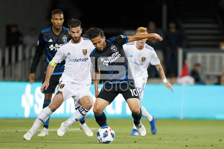 San Jose, CA - Saturday July 28, 2018: Jahmir Hyka during a Major League Soccer (MLS) match between the San Jose Earthquakes and Real Salt Lake at Avaya Stadium.