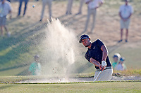 Tony Finau (USA) hits out of a sand trap on the 18th hole during the 118th U.S. Open Championship at Shinnecock Hills Golf Club in Southampton, NY, USA. 17th June 2018.<br /> Picture: Golffile | Brian Spurlock<br /> <br /> <br /> All photo usage must carry mandatory copyright credit (&copy; Golffile | Brian Spurlock)