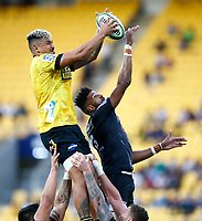 Isaia Walker-Leawere of the Hurricanes takes lineout ball during the Super Rugby match between the Hurricanes and the Cell C Sharks at Sky Stadium in Wellington, New Zealand on Saturday, 15 February 2020. Photo: Steve Haag / stevehaagsports.com