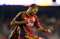 Alvaro Saborio (15) of Real Salt Lake celebrates scoring with teammates. The New York Red Bulls defeated Real Salt Lake 4-3 during a Major League Soccer (MLS) match at Red Bull Arena in Harrison, NJ, on July 27, 2013.