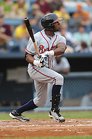 Rome Braves center fielder Kyle Rose #32 swings at a pitch during a game against the Asheville Tourists at McCormick Field on June 23, 2011 in Asheville, North Carolina.  The Tourists won the game 10-4.  (Tony Farlow/Four Seam Images)