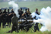 NWA Democrat-Gazette/ANDY SHUPE<br /> Soldiers fire a large cannon Saturday, Sept. 26, 2015, during a re-enactment of the Civil War Battle of Pea Ridge in Pea Ridge. Visit nwadg.com/photos to see more photos from the weekend.