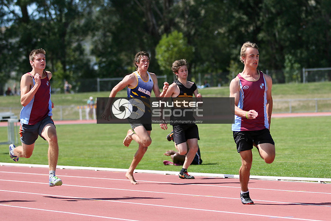 U16B 100m final. TSS Athletics Championships 2012, 10 Mar 2012,  Saxton Athletic Stadium, Nelson, New Zealand<br /> Photo: Marc Palmano/shuttersport.co.nz