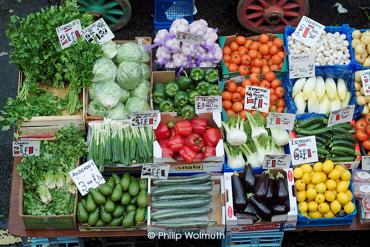 Fresh vegetables on sale at Church Street market in Paddington, London.